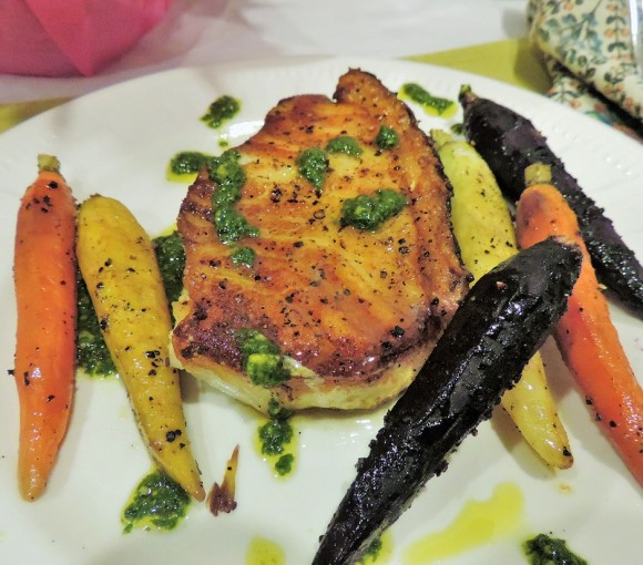 Sea Bass with Carrots & Kale Pesto