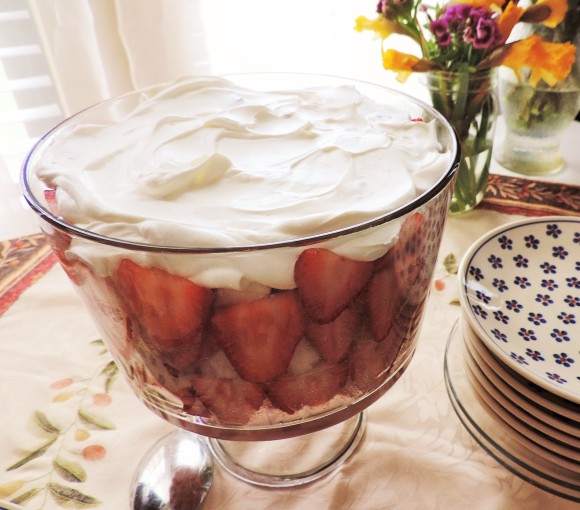 Strawberry Rhubarb Trifle with Whipped Cream