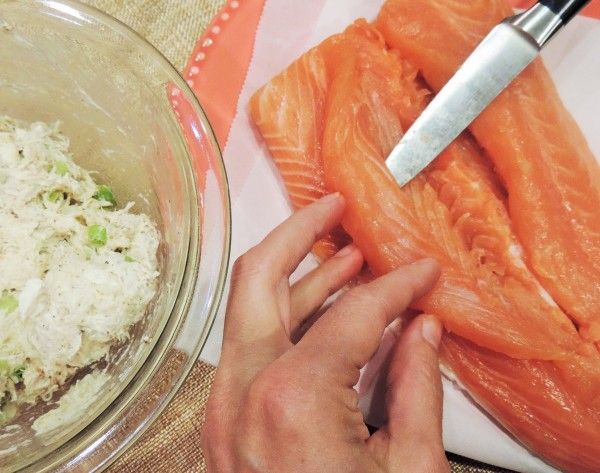 Prepping Salmon for Stuffing