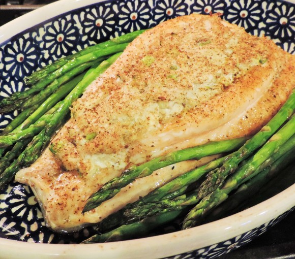 Crab Stuffed Salmon with Asparagus