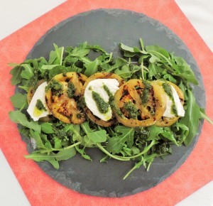 Grilled Green Tomatoes with Arugula Salad