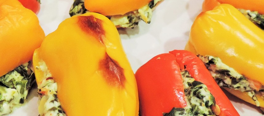 Oops, I Stuffed It Again–Spinach Dip Stuffed Peppers