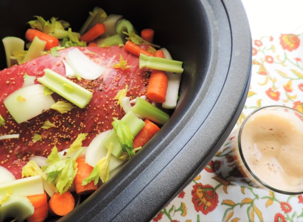 Crock Pot Corned Beef into Cooker