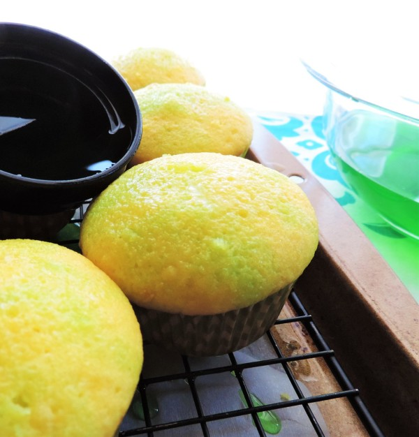 Lime Jello into Lemon Cupcakes