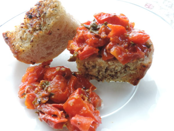 Garlic Bread & Roasted Tomato Bruschetta