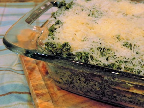 Spinach & Kale Lasagna with Cheese Topping